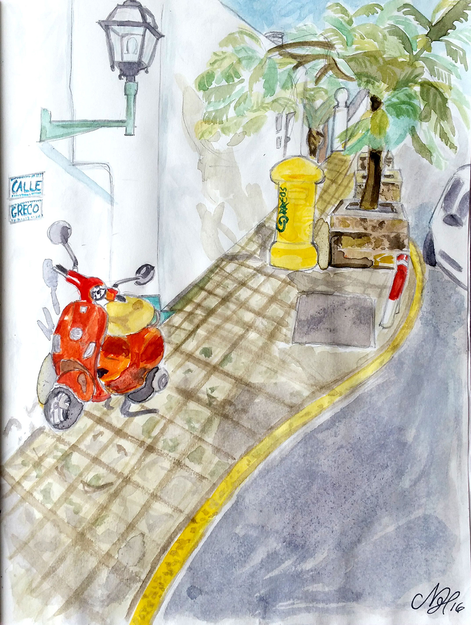 Calle Greco, aquarell on paper - from a street in Gran Canaria