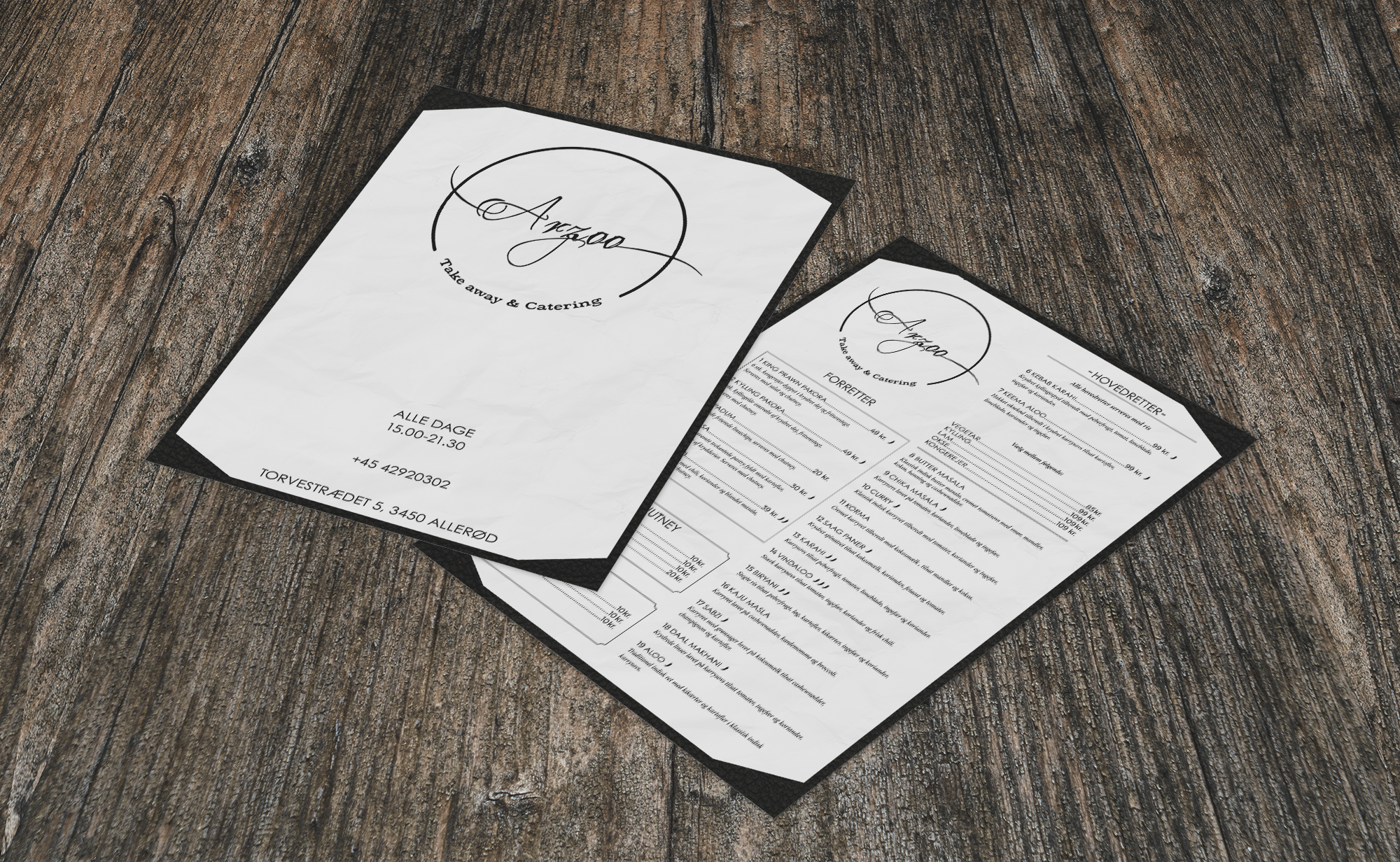 print design, a menu for Arzoo, a restaurant in Allerød